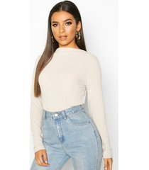 ribbed crew neck long sleeve top, stone