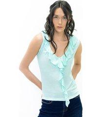 camiseta para mujer en doble punto azul color-azul-talla-xl