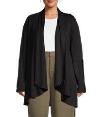 carmen carmen marc valvo women's plus shawl collar draped jacket - black - size 3x (22-24)