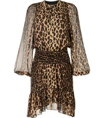 a.l.c. sidney leopard print silk dress - blue