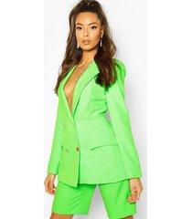 neon double breasted blazer, neon-green