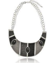 maxi colar le diamond geométrico couro preto - kanui