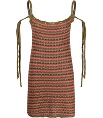 alanui tied-strap knitted dress - green