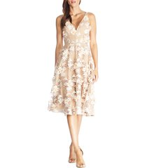 women's dress the population elisa floral applique embroidered fit & flare dress
