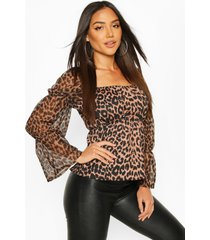 leopard mesh sleeve neck peplum top, tan