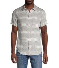 madewell men's striped short-sleeve linen shirt - grey - size m