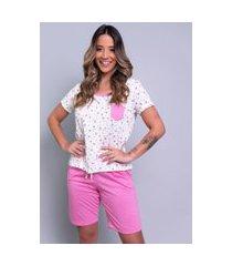 pijama bella fiore modas estampado com bolso hadassa rosa