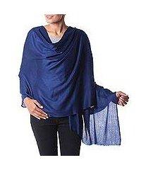 wool shawl, 'valley mist in cobalt' (india)