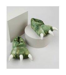 pantufa infantil palomino pata de dinossauro em pelúcia verde