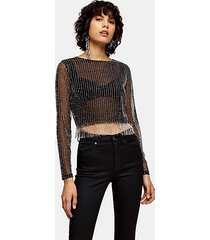black bead mesh top - black
