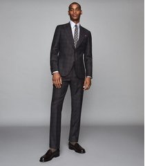 reiss strike - wool checked slim fit suit in charcoal, mens, size 46