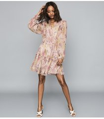 reiss cari - floral smock dress in pink, womens, size 14