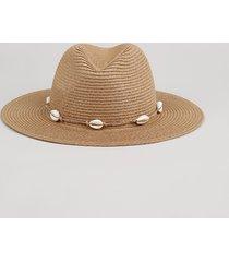 chapéu feminino de palha com búzios bege
