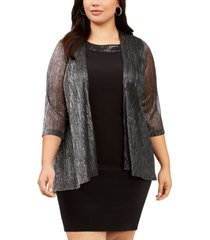 connected plus size open-front metallic shrug