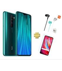 celular xiaomi redmi note 8 pro 128gb 6gb ram verde + vidrio + audifonos xiaomi