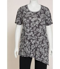 shadow floral side-tie tunic