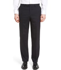 men's berle lightweight plain weave flat front classic fit trousers, size 33 x unhemmed - blue