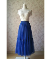 royal blue high waist tulle full skirt bridal bridesmaid skirt layer tulle skirt