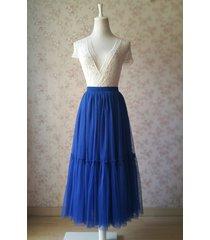 royal blue high waist tulle full skirt bridal bridesmaid skirt layer tulle skirt