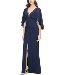 vince camuto embellished-neck capelet gown
