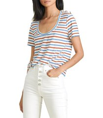 women's veronica beard benji stripe linen t-shirt, size large - white