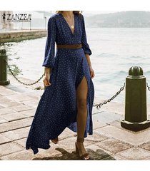 zanzea mujeres rajó la fiesta del té de la tarde del lunar de la camisa de vestido de cóctel vestido maxi plus -azul marino
