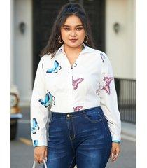 blusa de manga larga con botón de mariposa de talla grande diseño
