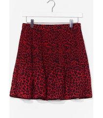 womens animal print ruffle mini skirt - red