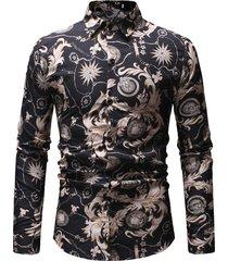 mens business casual traspirante cotone stampa button down sottile camicia