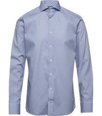 block print poplin shirt skjorta business blå eton