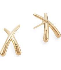 14k yellow gold criss-cross stud earrings