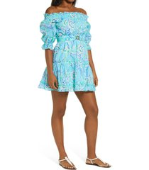 lilly pulitzer(r) louisa off the shoulder cotton dress, size small in bermuda blue turtle szn at nordstrom