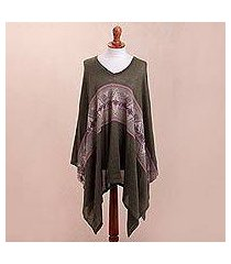 cotton blend poncho, 'olive andes' (peru)