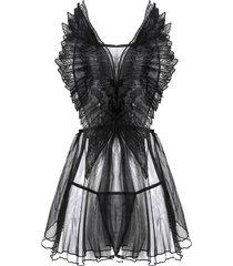 criss cross embroidered sheer mesh lingerie babydoll