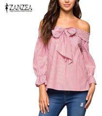 zanzea más nuevo del hombro tops cuello raya vertical de las mujeres del verano con los cultivos arco rayado vertical de la blusa más el tamaño de blusas rojo -rojo