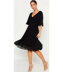 cape detail chiffon midi dress, black