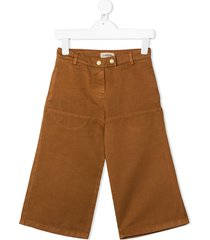 lanvin enfant drill flared trousers - brown