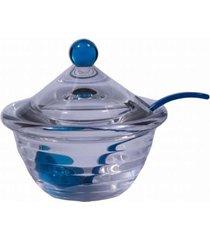 molheira em acrílico com colher e tampa azul