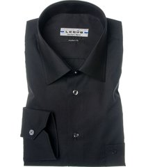 ledûb heren overhemd zwart borstzak modern fit ml7
