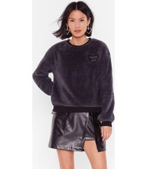 womens kindly fuck off faux shearling embroidered sweatshirt - grey
