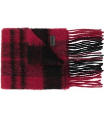 saint laurent checked winter scarf - black