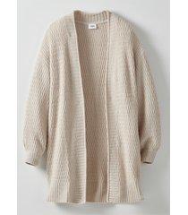 cardigan lungo in maglia operata (grigio) - bpc bonprix collection