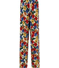 mini rodini ivory trouser for girl with colorful violas