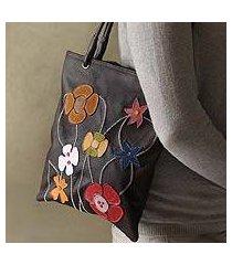 leather handbag, 'wildflowers' (peru)