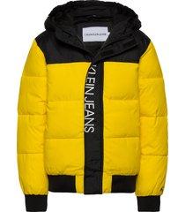 colour block puffer jacket gevoerd jack geel calvin klein