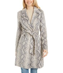 tahari snake-embossed trench coat