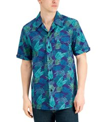 collectif men's cesar relaxed-fit palm-print camp shirt