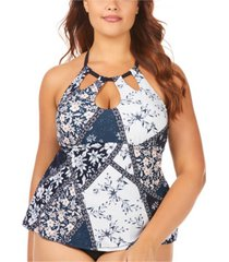 raisins curve trendy plus size juniors' las brisas printed rosalie poolside underwire tankini top women's swimsuit