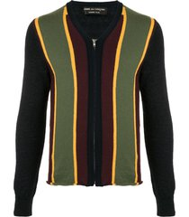 comme des garçons pre-owned striped panel zipped cardigan -
