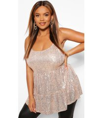 plus sequin tiered cami top, gold